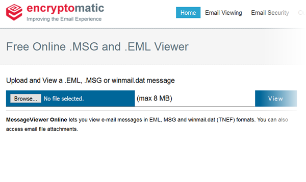 "Screen shot of the free .eml online file viewer. ""Upload and View a .Eml, .Msg or winmail.dat message."""