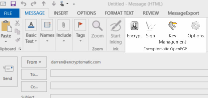 Open PGP email encryption add-on for Outlook, toolbars installed in Outlook menu.