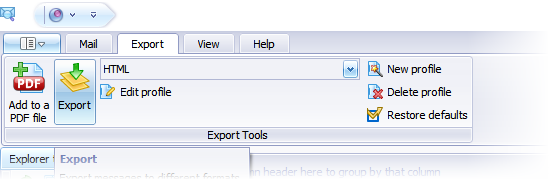 Screen shot of EmlViewer Pro with HTML export profile selected in list.